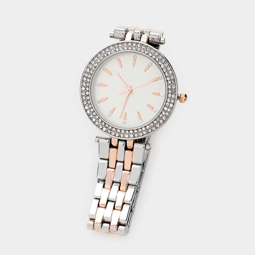 Analog Dial Round Rhinestone Pave Two Toned Metal Watch