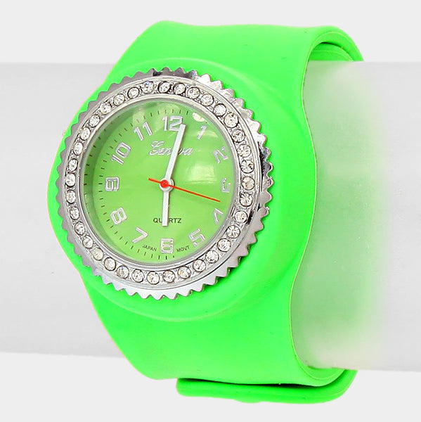 Crystal Dial Snap Jelly Band Watch