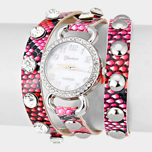 Studded Leather Band Wrap Watch