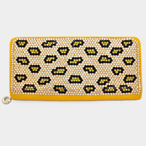 Yellow Tone Leopard Crystal Wallet