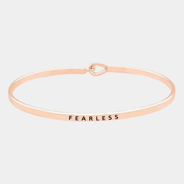 """Fearless"" Thin Metal Hook Bracelet"
