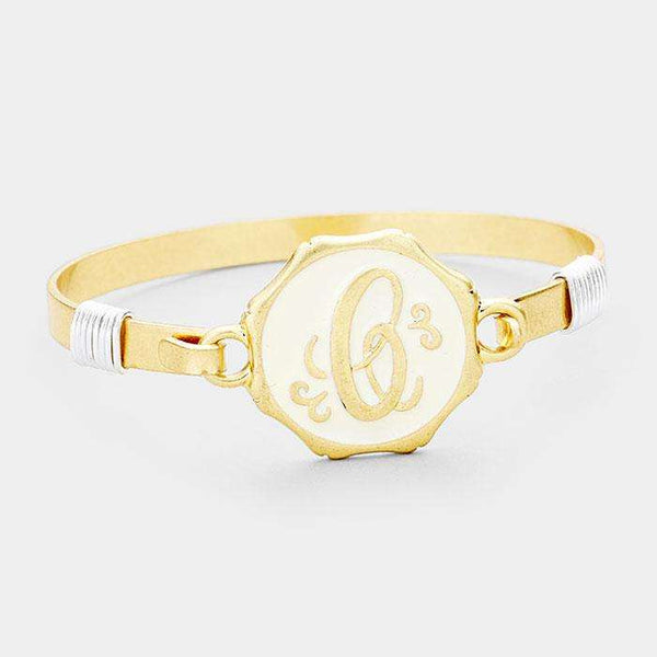 'C' Acrylic Monogram Metal Disc Hook Bracelet