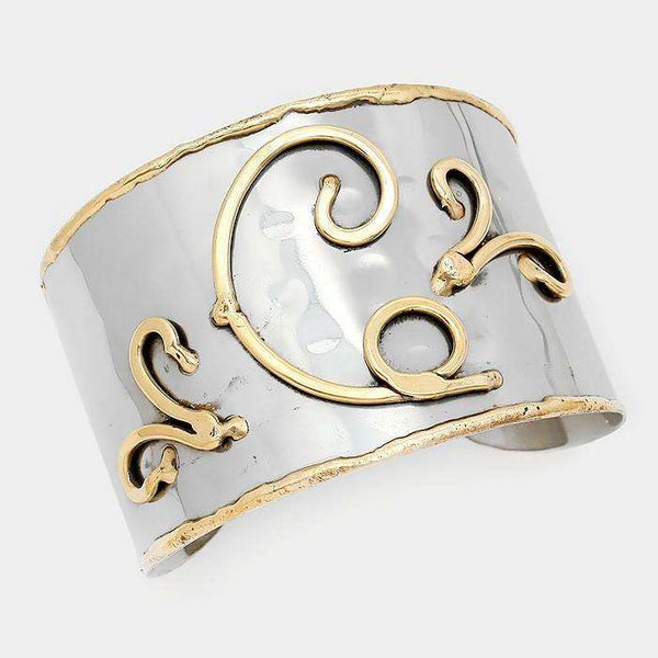 'C' Hand Made Two Tone Metal Monogram Cuff Bracelet