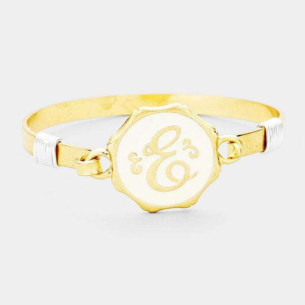 'E' Acrylic Monogram Metal Disc Hook Bracelet
