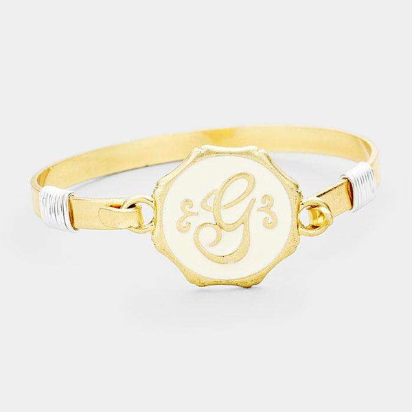 'G' Acrylic Monogram Metal Disc Hook Bracelet