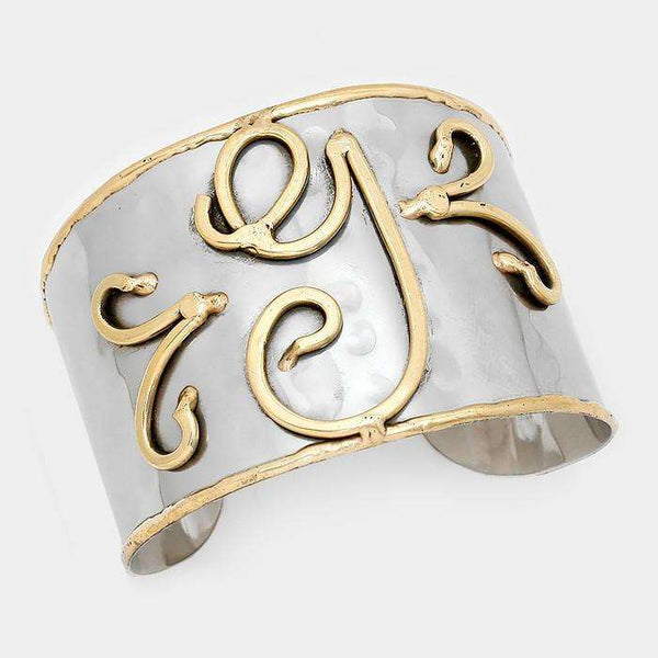 'G' Hand Made Two Tone Metal Monogram Cuff Bracelet