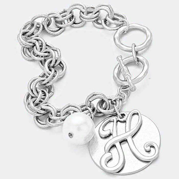 'H' Monogram Disc Charm Linked Chain Bracelet