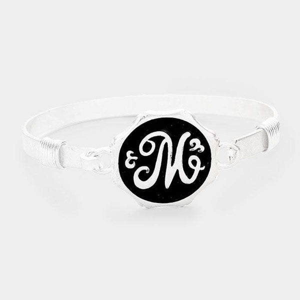 'M' Acrylic Monogram Metal Disc Hook Bracelet