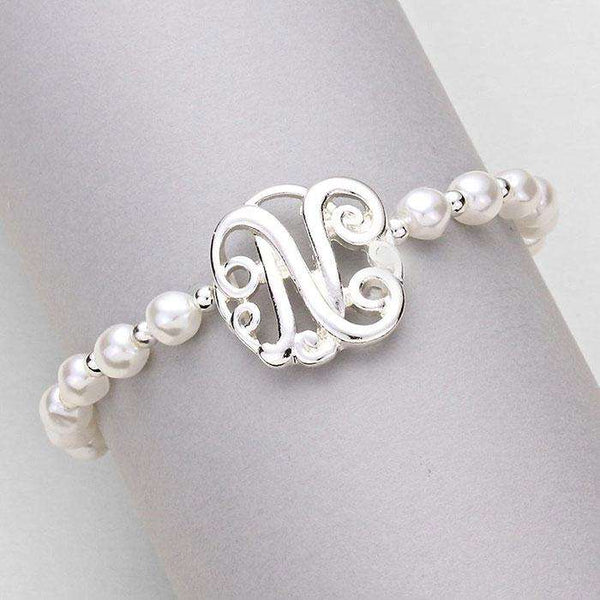 'N' Monogram Charm Pearl Beaded Stretch Bracelet