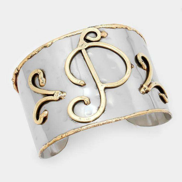 'P' Hand Made Two Tone Metal Monogram Cuff Bracelet