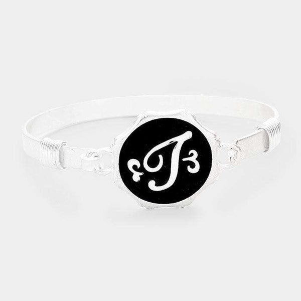 'T' Acrylic Monogram Metal Disc Hook Bracelet