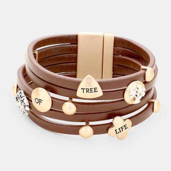 'Tree Of Life' Multi Strand Leather Magnetic Bracelet