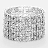 10-row Crystal Rhinestone Stretch Bracelet