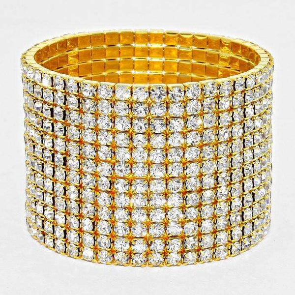 12-row Crystal Rhinestone Stretchable Bracelet