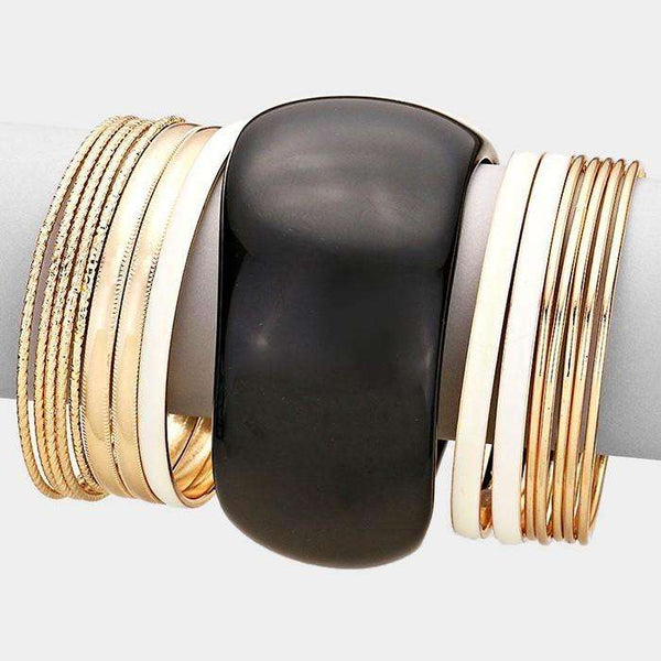 16 Pcs - Metal Stack Bracelets With Resin Bangle
