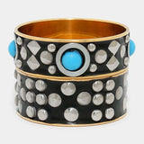 2 Pcs - Studded Bangle Bracelet