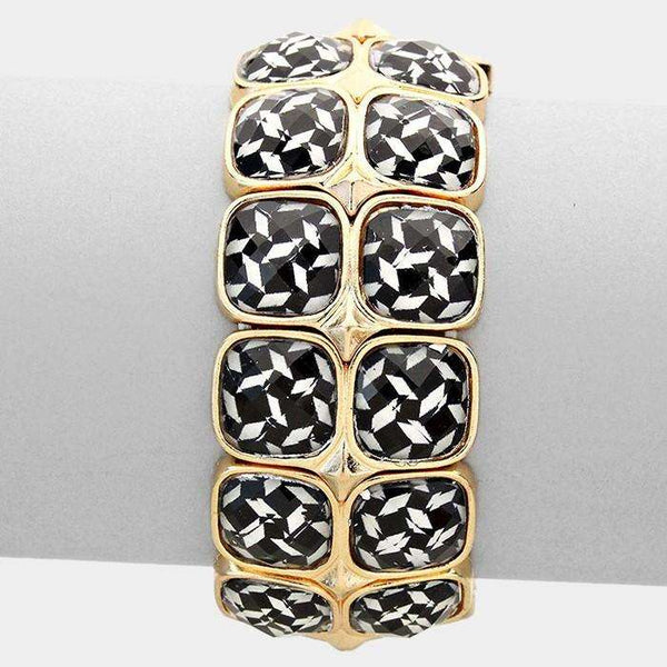 2-row Faceted Plate Stretch Bracelet