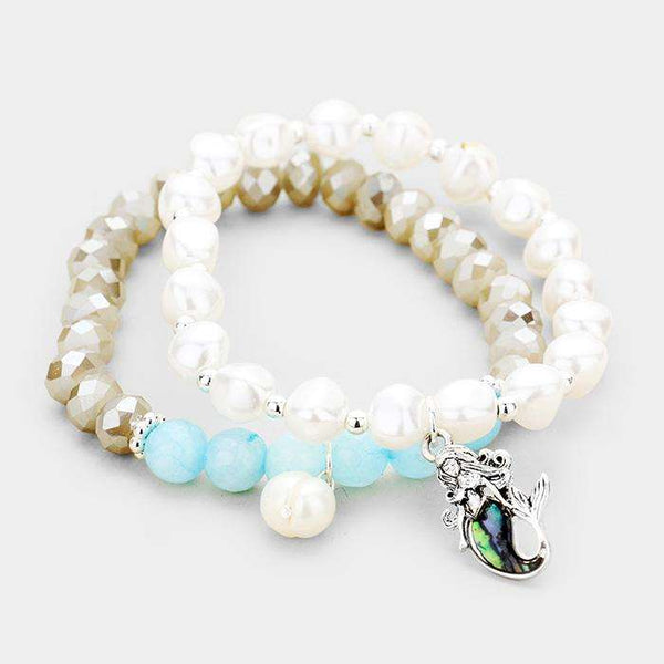 2Pcs Freshwater Pearl Abalone Mermaid Charm Stretch Bracelet