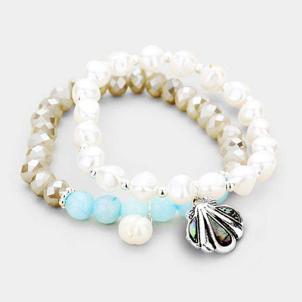 2Pcs Freshwater Pearl Abalone Shell Charm Stretch Bracelet
