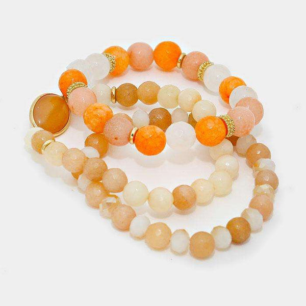 3-layers Earthy Stone Beaded Stretchable Bracelets