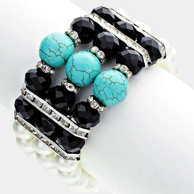 3-row Turquoise Accented Pearl Strand Stretch Bracelet