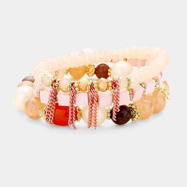 3Pcs Cube Wood Multi Beaded Chain Detail Stretch Bracelets