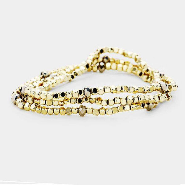 3Pcs Metal Cube Beaded Faceted Bead Station Stretch Bracelets