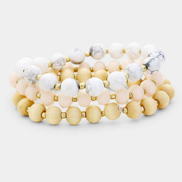 3Pcs Multi Strand Wood Natural Stone Bead Stretch Bracelets