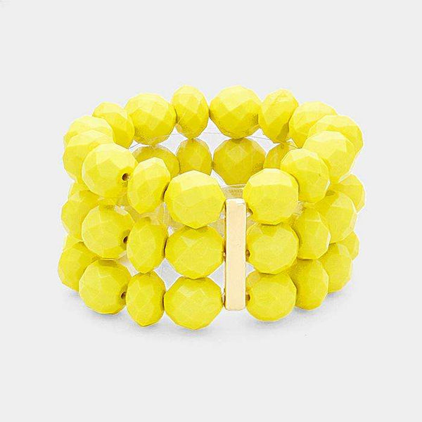 3Rows Faceted Beaded Ball Stretch Bracelet