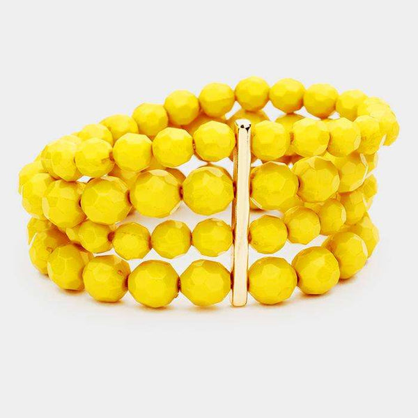 4Row Strand Faceted Round Beaded Stretchable Bracelets