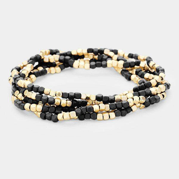 5Pcs Multi Strand Wood Metal Bead Stretch Bracelets