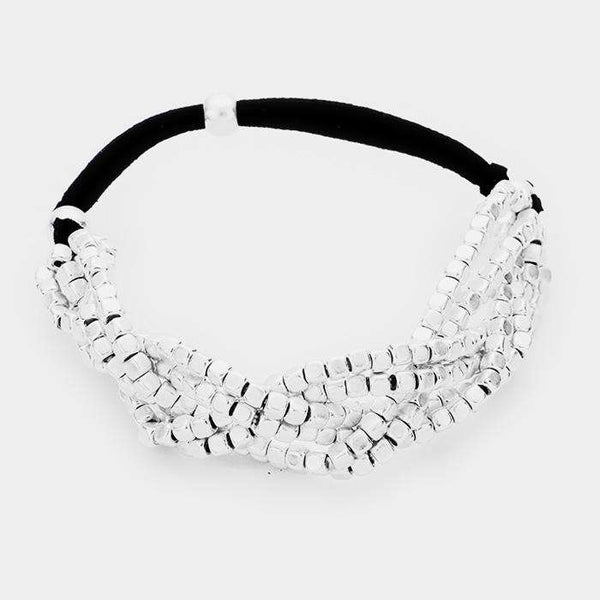 6Row Strand Braided Metal Bead Suede Stretchable Bracelet