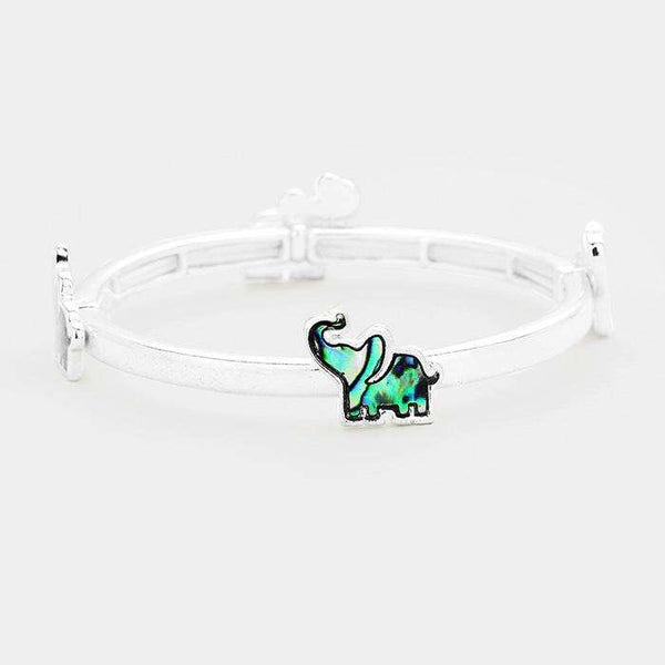 Abalone Elephant Metal Stretch Bracelet