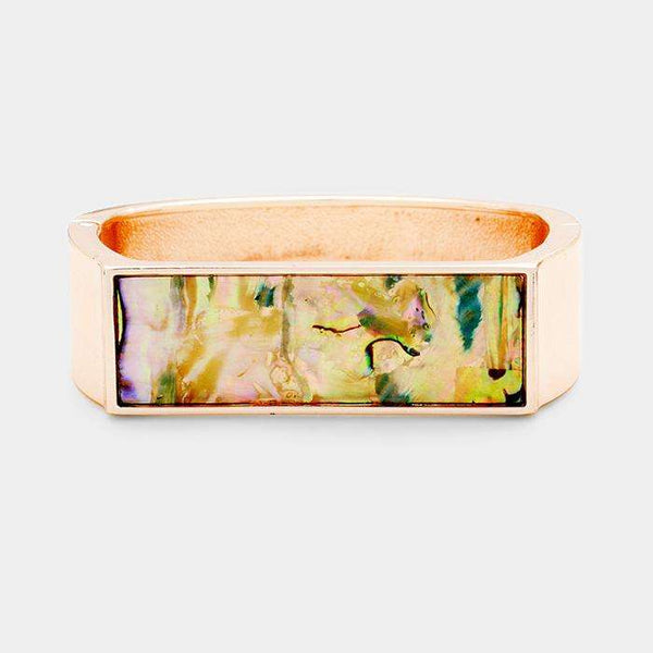 Abalone Rectangle Accented Hinged Bracelet