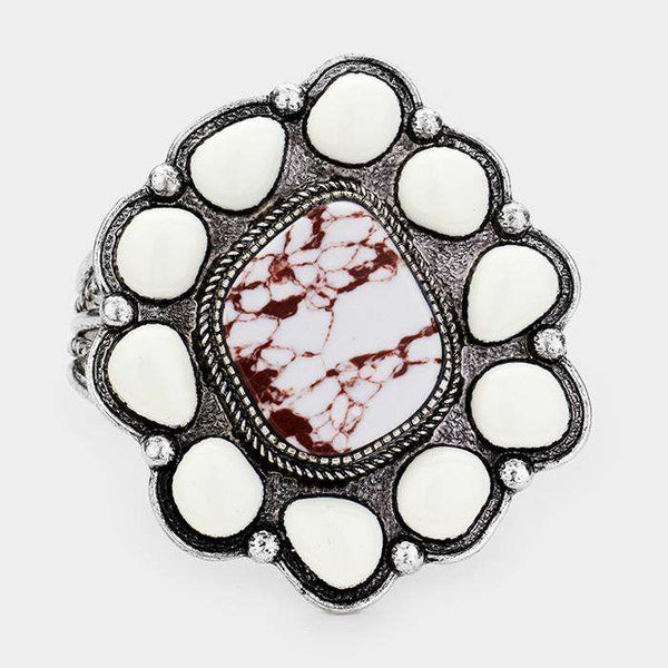 Abstract Howlite Accented Tribal Cuff Bracelet