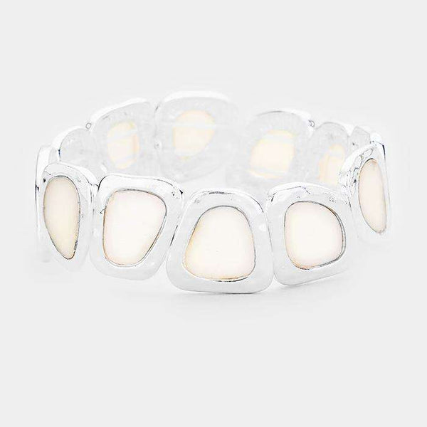 Abstract Round Mother Of Pearl Stretch Bracelet