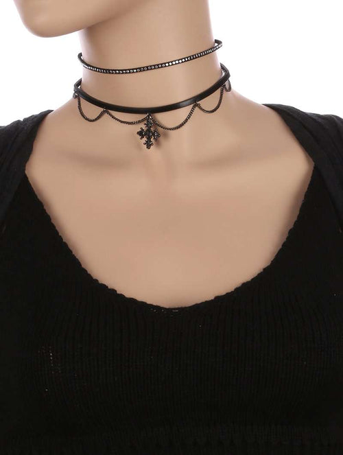 Ava 2 Piece Black Leather and Silver Accents Choker