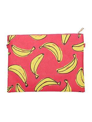 Banana Print Vinyl Clutch Bag