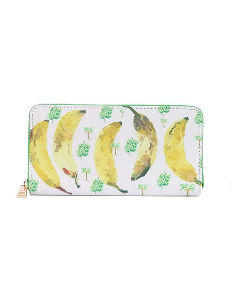 Banana Print Vinyl Clutch Wallet