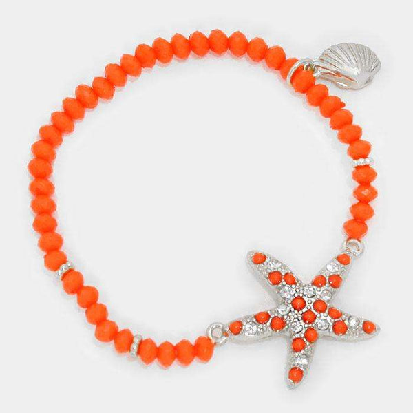 Beaded Starfish Stretch Bracelet With Shell Charm