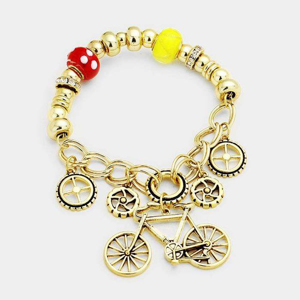 Bicycle Charm Stretch Bracelet