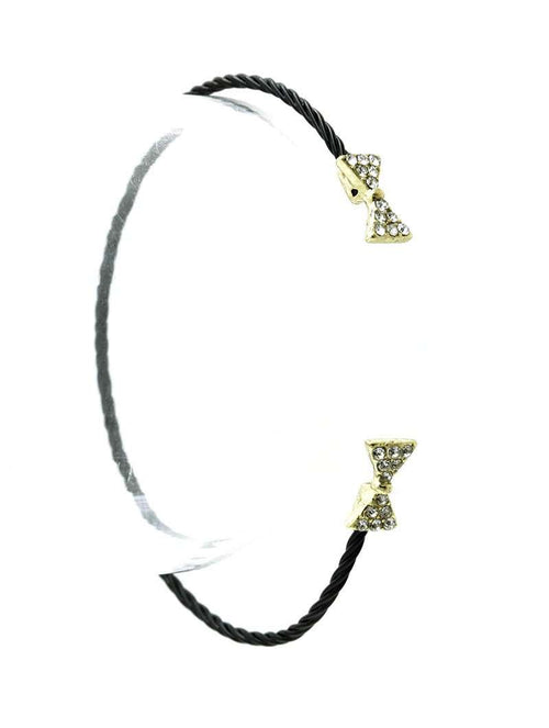 Black Bracelet with Gold Bow