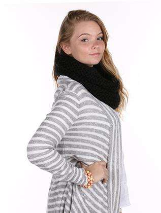 Black Knit Infinity Neck Warmer Scarf