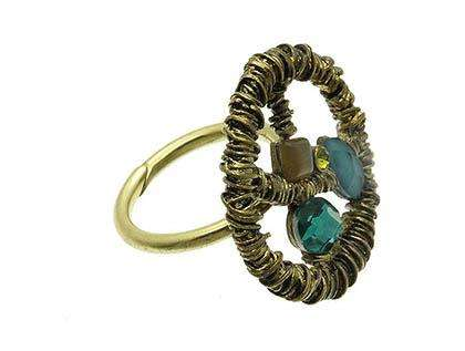Blue Marble Bead Brass Burnish Adjustable Ring