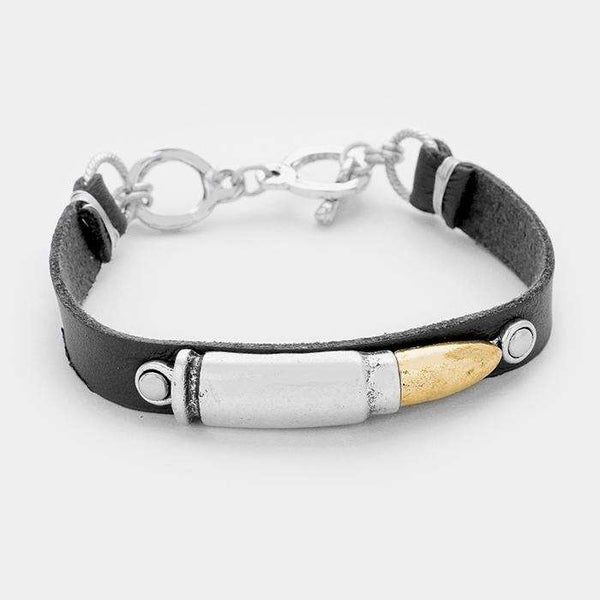 Bullet Faux Leather Toggle Bracelet