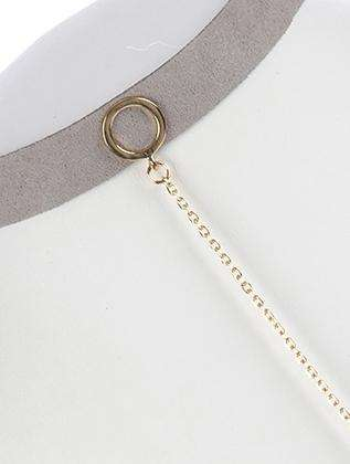 Cadell Gray Suede Long Line Choker