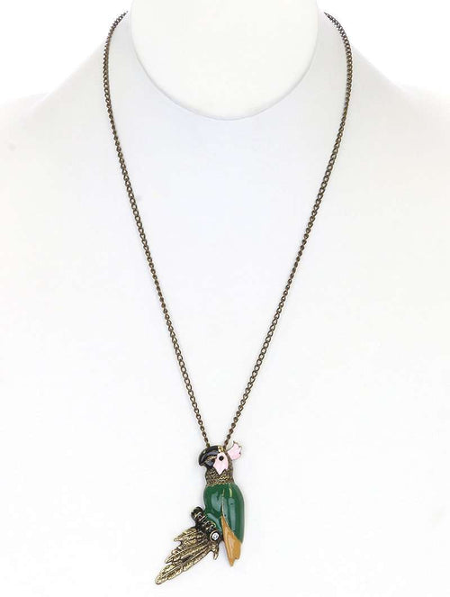 Caela Burnish Metal Chain Necklace with Parrot Charm