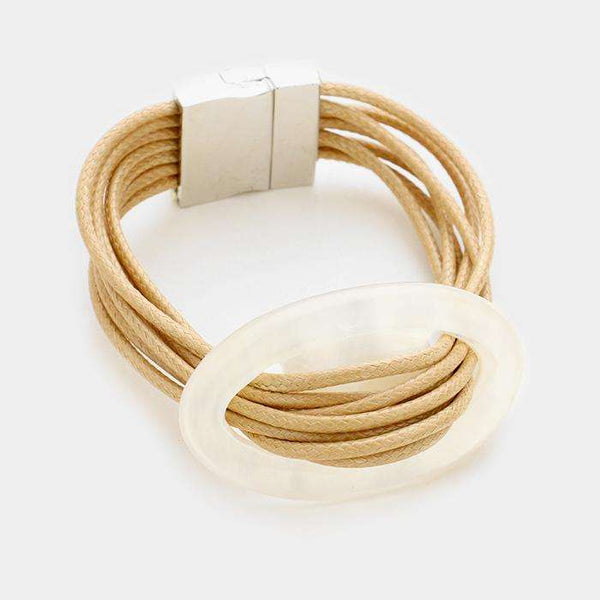 Celluloid Hoop Accented Multi-tier Cord Bracelet