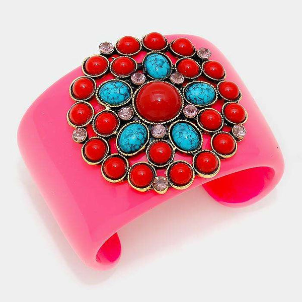 Crystal & Natural Stone Accented Colorful Cuff Bracelet