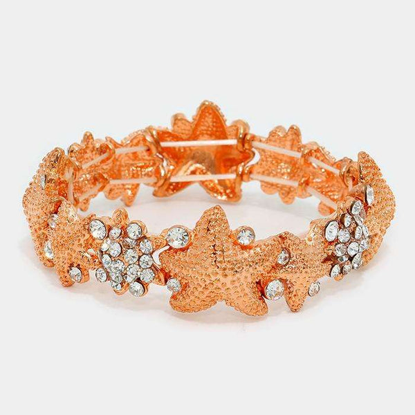 Crystal & Textured Metal Starfish Stretch Bracelet